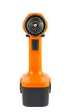 Orange cordless drill front view Stock Photo
