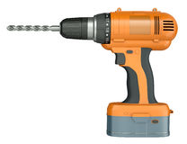 Orange cordless drill stock illustration