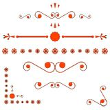Orange corners and page ends ornaments Royalty Free Stock Images