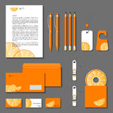 Orange corporate identity. Vector company style for brandbook an Royalty Free Stock Photo
