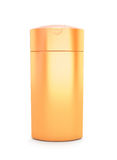 Orange cosmetic packaging, plastic shampoo or shower gel bottle Stock Photo