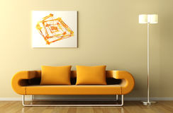 Orange couch lamp and picture vector illustration