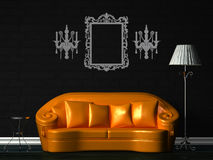Orange couch, table and standard lamp Stock Photography