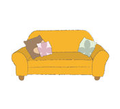 Orange couch Royalty Free Stock Photo