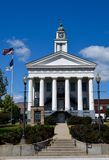 Orange County Courthouse. This is a Summer picture of the Orange County Courthouse located in Paoli, Indiana.  This courthouse is an example of Greek Revival Royalty Free Stock Images