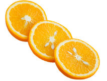 Orange coupée en tranches sur un fond blanc Photographie stock