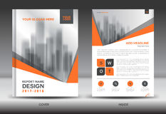 Orange Cover Annual report brochure flyer template creative Stock Image