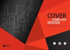 Orange cover template for business industry, Real Estate, building, home,Machinery, other. Polygonal background, Horizontal layout, Business brochure flyer Stock Photos