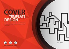 Orange cover template for business industry, Real Estate, building, home,Machinery, other. polygonal background. Horizontal layout, Business brochure flyer Royalty Free Stock Images
