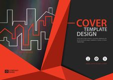Orange cover template for business industry, Real Estate, building, home,Machinery, other. polygonal background. Horizontal layout, Business brochure flyer Royalty Free Stock Photos