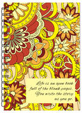 Orange cover zen floral design of the notebook Royalty Free Stock Photo