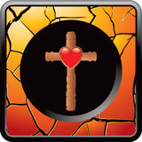 Orange cracked web button with cross and heart Stock Image