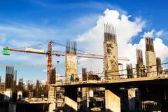 Orange crane. In the construction site Stock Photo