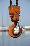Orange crane hook Stock Photo