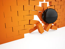 Orange crash brick wall Stock Images