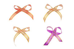 Orange cream and purple with striped gold ribbons isolated Stock Photo