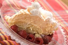 Orange Creamsicle Pie and Raspberries Royalty Free Stock Images