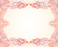 Orange creme henna. Hand drawn lace like henna frame for your text or image Stock Photo