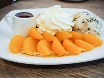 Orange Crep Cake. Orange Crep Cake on the white plate Stock Photos