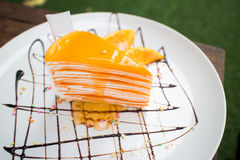 Orange crepe cake. Orange cake Close up Stock Image