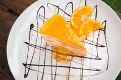 Orange crepe cake. Orange cake Close up Stock Images