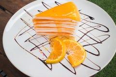 Orange crepe cake. Orange cake Close up Royalty Free Stock Image