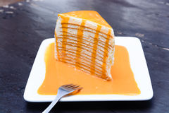 Orange crepe cake Stock Photo