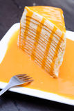 Orange crepe cake Royalty Free Stock Photos