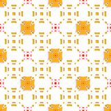 Orange crosses on top perforated rectangles seamless Royalty Free Stock Photos