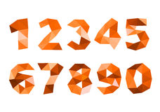 Orange crumpled numerals isolated on white background Royalty Free Stock Photography