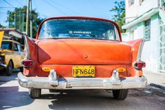 Orange Cuban Car from the Rear stock image