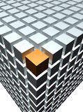 Orange cube. An orange cube at the end of a grey block of cubes dine in cinema 4d Royalty Free Stock Photo