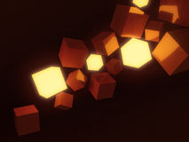 Orange cubes dark background Royalty Free Stock Image