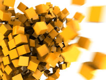 Orange cubes explosion. Abstract 3d illustration of orange cubes background Stock Photos