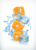 Orange cubes with ice and splashes Royalty Free Stock Photography