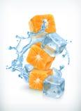 Orange cubes with ice and splashes royalty free illustration