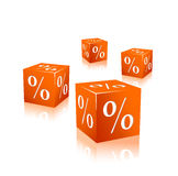 Orange cubes with percentage mark Stock Photography