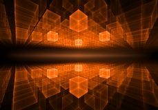 Orange Cubic Geometrical Horizon With Rays Of Light Royalty Free Stock Images