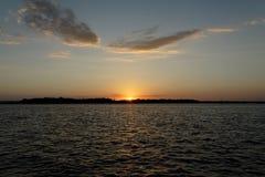Orange cumulus sunset Seascape. Australia royalty free stock photos