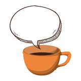 Orange cup coffee bubble icon. Illustration image Royalty Free Stock Image