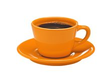 Orange cup of coffee on plate isolated on white Stock Images