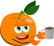 Orange with a cup of coffee Royalty Free Stock Photos