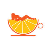 Orange cup with girl illustration Stock Images