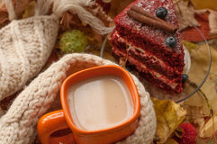 An orange cup of milk tea, a beige knitted scarf, a piece of apetizing cake with blueberries, dry tree leaves, hips and chestnuts Stock Images