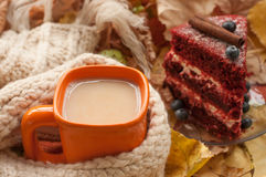 An orange cup of milk tea, a beige knitted scarf, a piece of apetizing cake with blueberries, dry tree leaves, hips and chestnuts Royalty Free Stock Photo