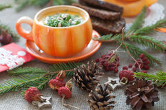 An orange cup of pumpkin soup, several slices of rye bread, pieces of fresh pumpkin and winter decoration elements on a coarse clo Royalty Free Stock Images