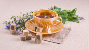Orange cup of tea with sugar cane pieces, blue and pink flowers Stock Images
