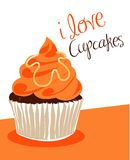 Orange cupcake. Illustration of an orange cupcake stock illustration