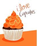 Orange cupcake Stock Image