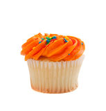 Orange Cupcake with sprinkles on white Royalty Free Stock Photos